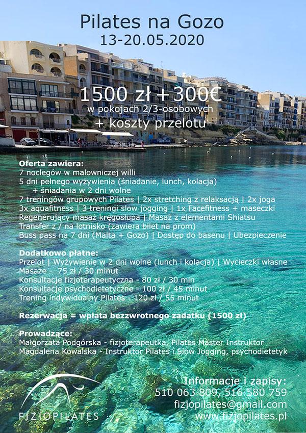 ulotka Pilates na Gozo 13-20 maja 2020
